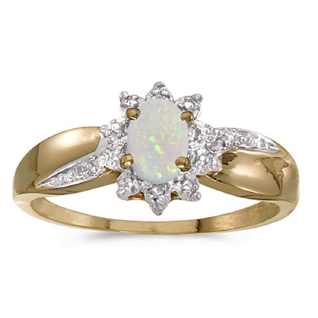 Certified 10k Yellow Gold Oval Opal And Diamond Ring 0.