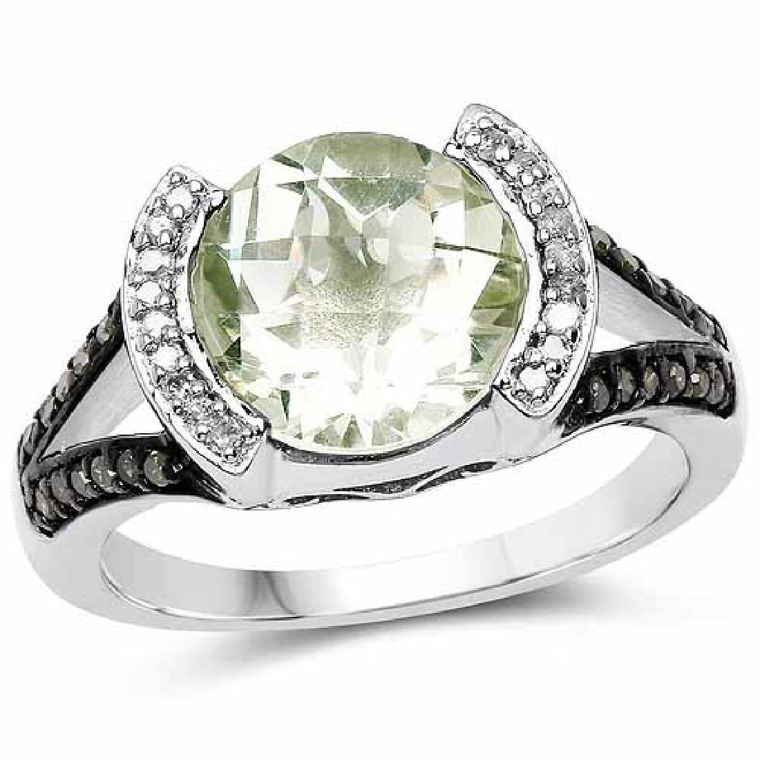 3.59 Carat Genuine Green Amethyst Green Diamond and W
