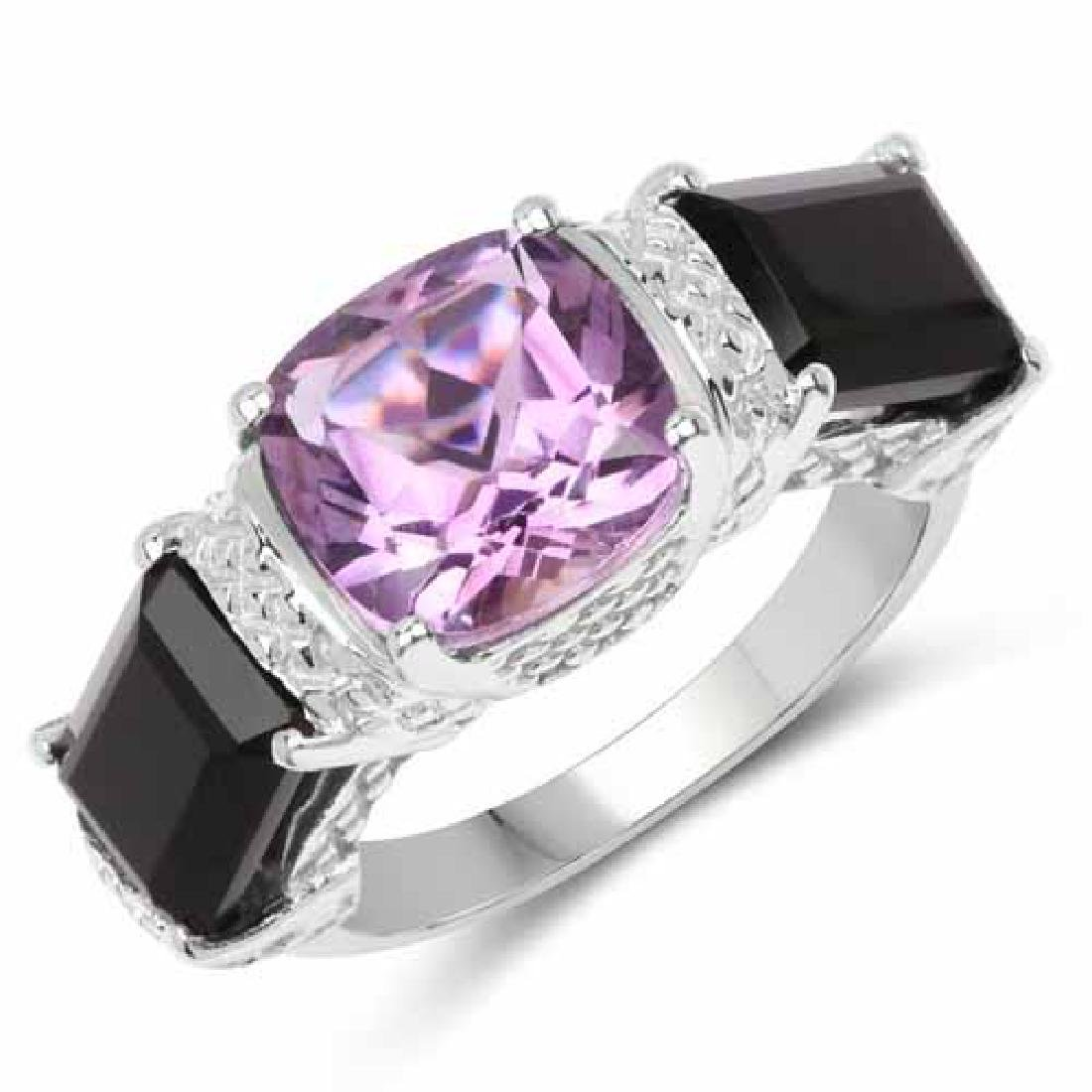 4.53 Carat Genuine Amethyst and Onyx Black .925 Sterlin