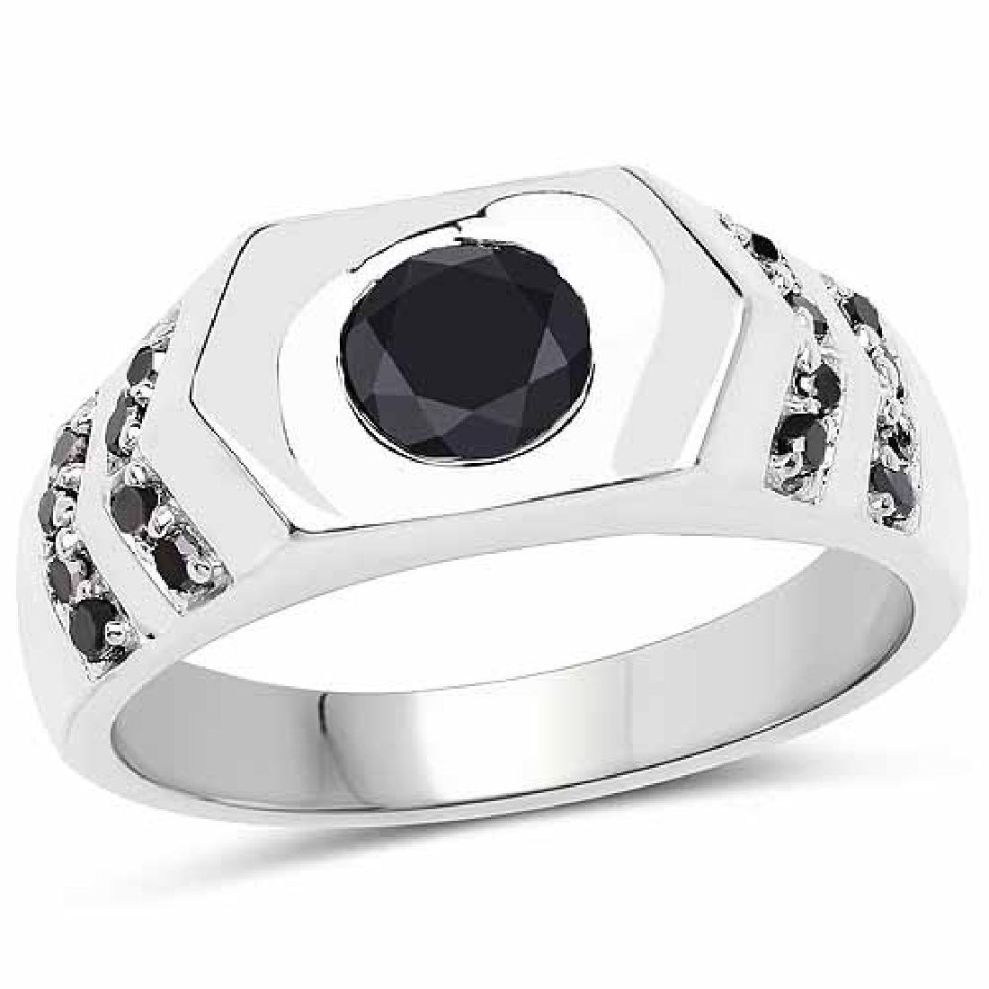 1.53 Carat Genuine Black Diamond .925 Sterling Silver R