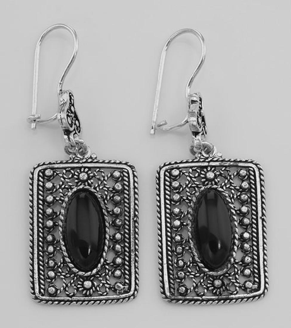 Classic Antique Style Rectangular Black Onyx Earrings -
