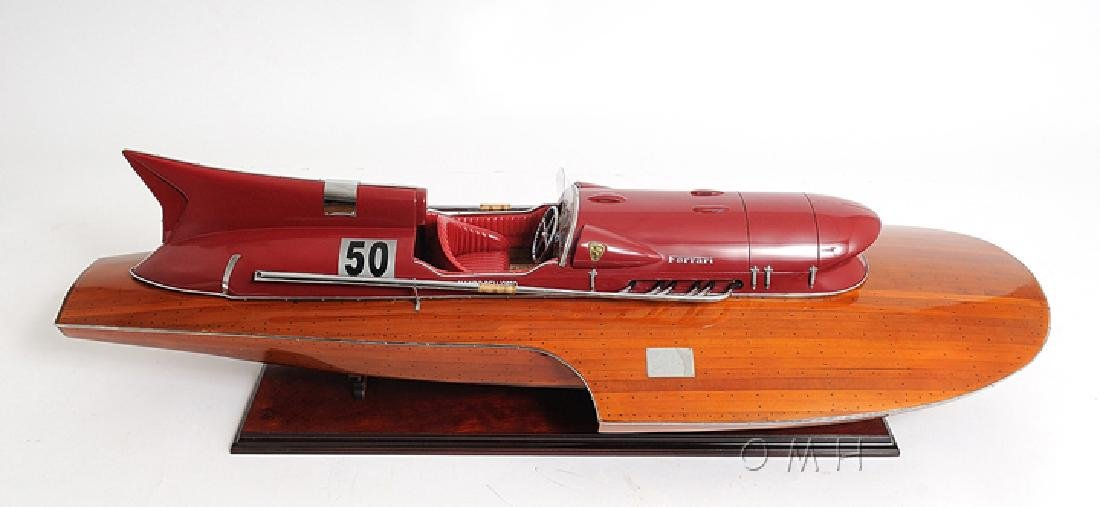 HAND MADE WOODEN FERRARI HYDROPLANE READY FOR RC W/COA