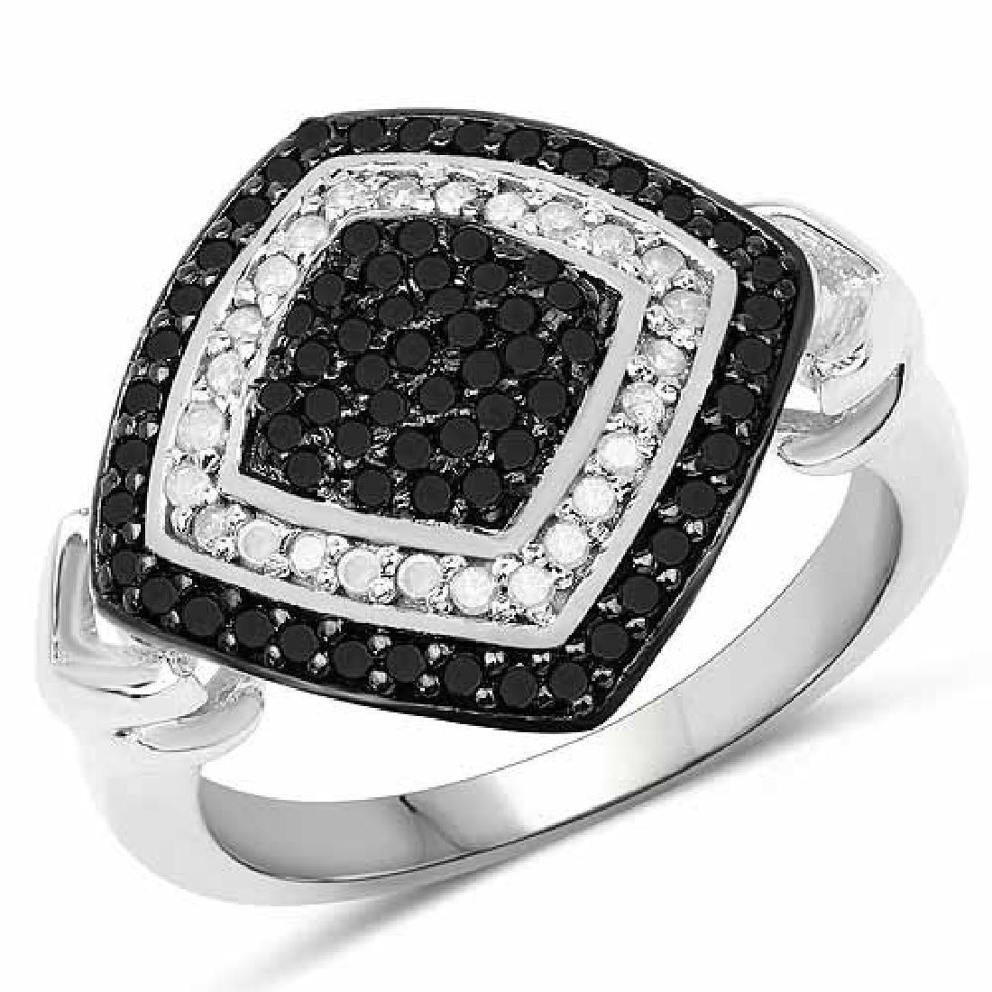 0.56 Carat Genuine White Diamond and Black Diamond .925