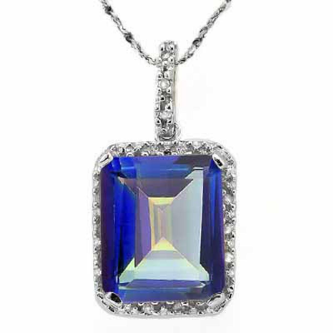 5.14 CARAT TW (3 PSC) BLUE MYSTIC GEMSTONE & GENUINE DI