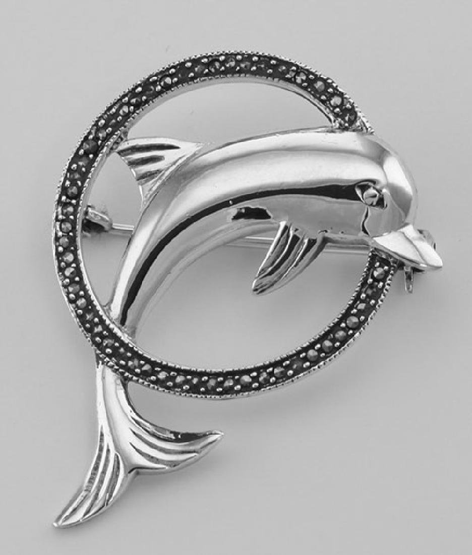 Jumping Dolphin and Marcasite Hoop Pin / Brooch - Sterl