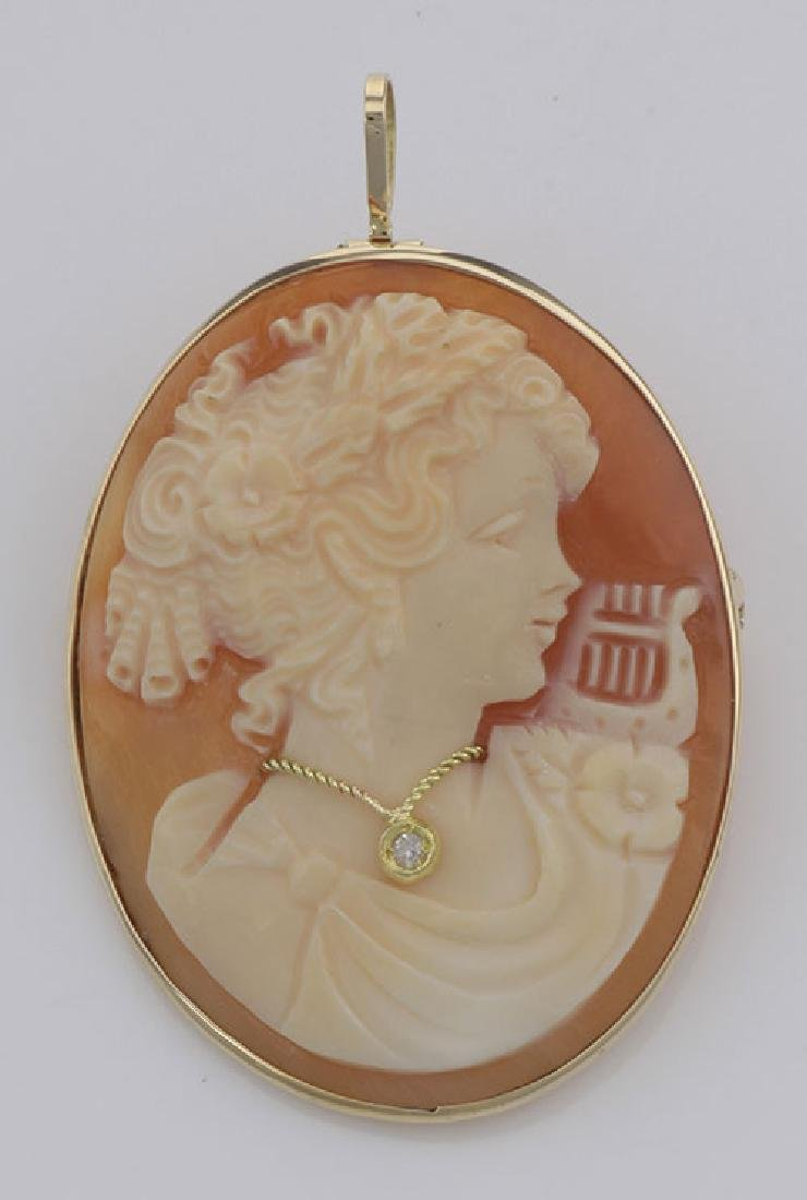 14kt Gold Italian Hand Carved Cameo Pin / Pendant with