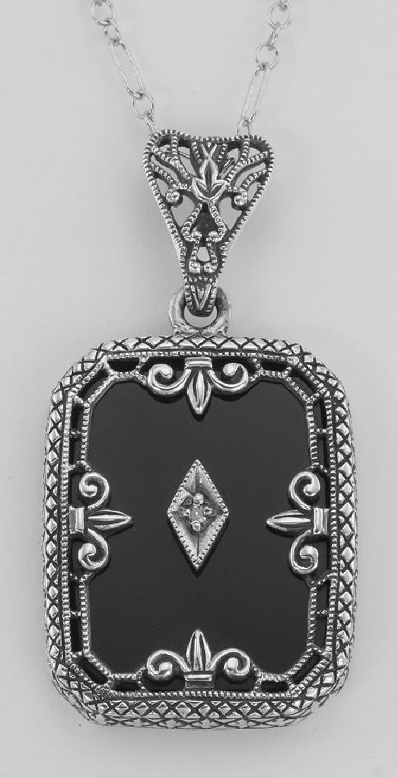 Fleur de Lis Design Onyx and Diamond Pendant with Chain