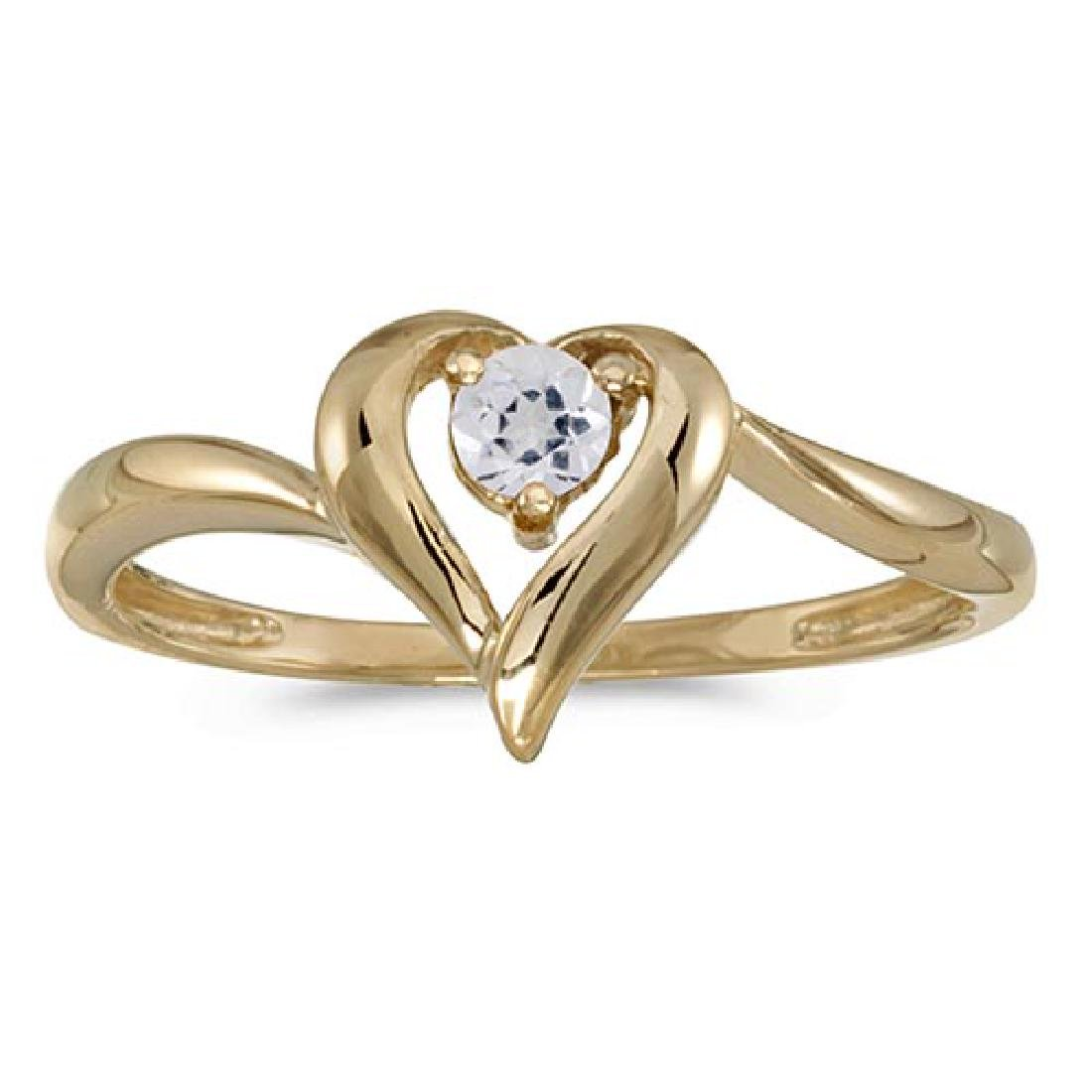 Certified 10k Yellow Gold Round White Topaz Heart Ring