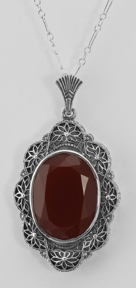 Art Deco Style Faceted Carnelian Filigree Pendant - Ste