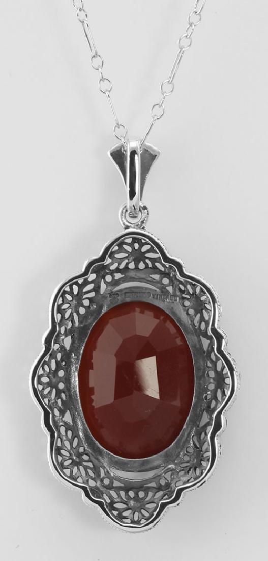 Art Deco Style Faceted Carnelian Filigree Pendant - Ste - 2