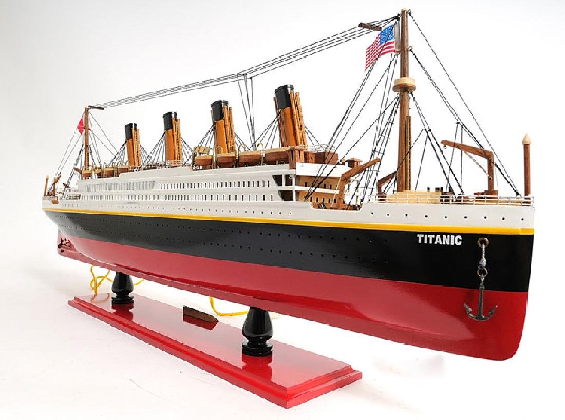 HAND MADE WOODEN TITANIC WITH LIGHTS W/COA - 4