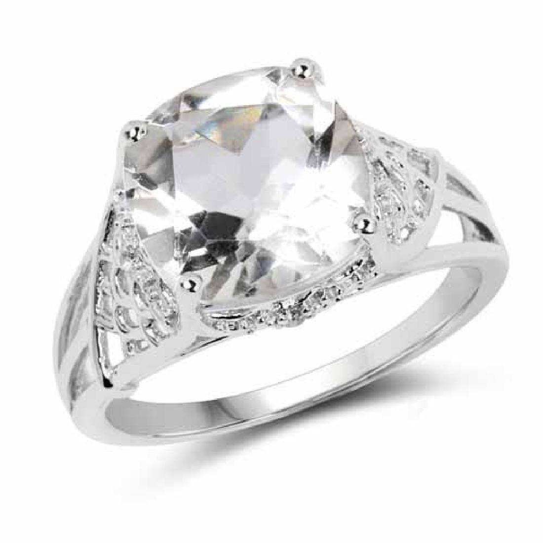 3.39 Carat Genuine Crystal Quartz and White Topaz .925
