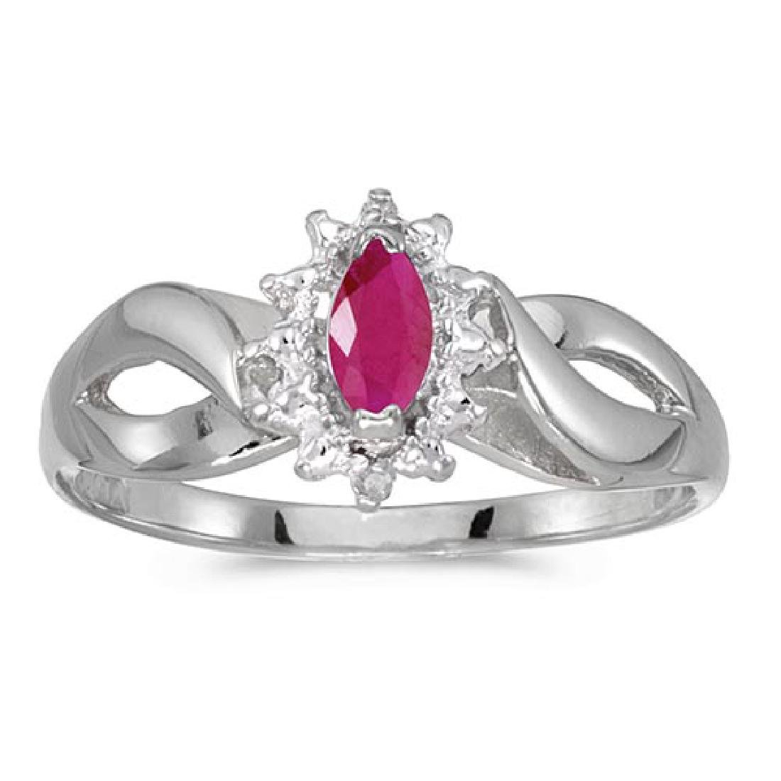 Certified 10k White Gold Marquise Ruby And Diamond Ring