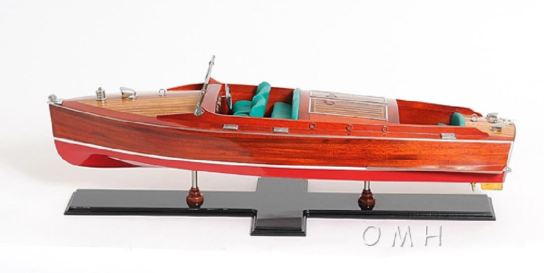 HAND MADE WOODEN Chris Craft Runabout Painted  W/COA