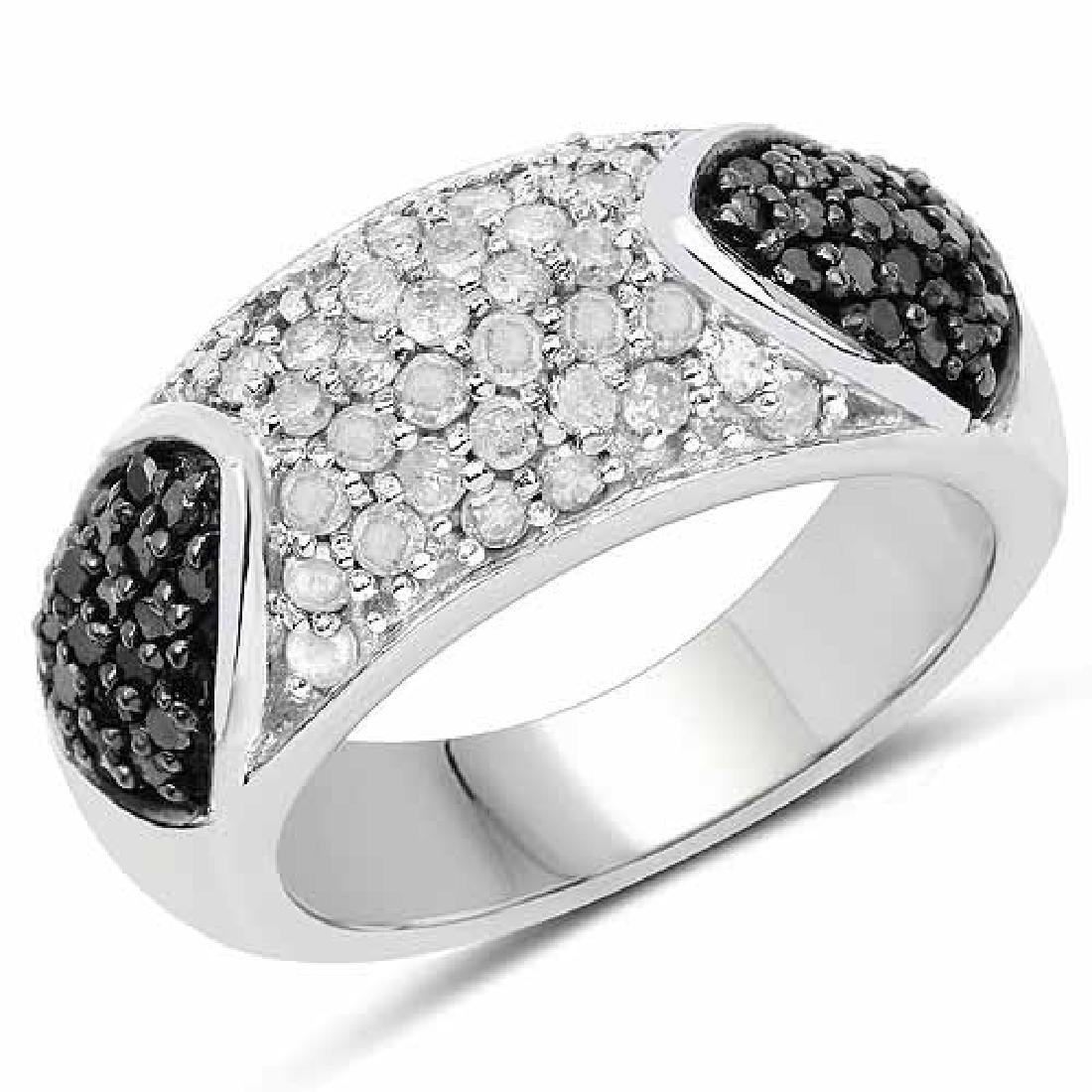 0.99 Carat Genuine Black Diamond and White Diamond .925