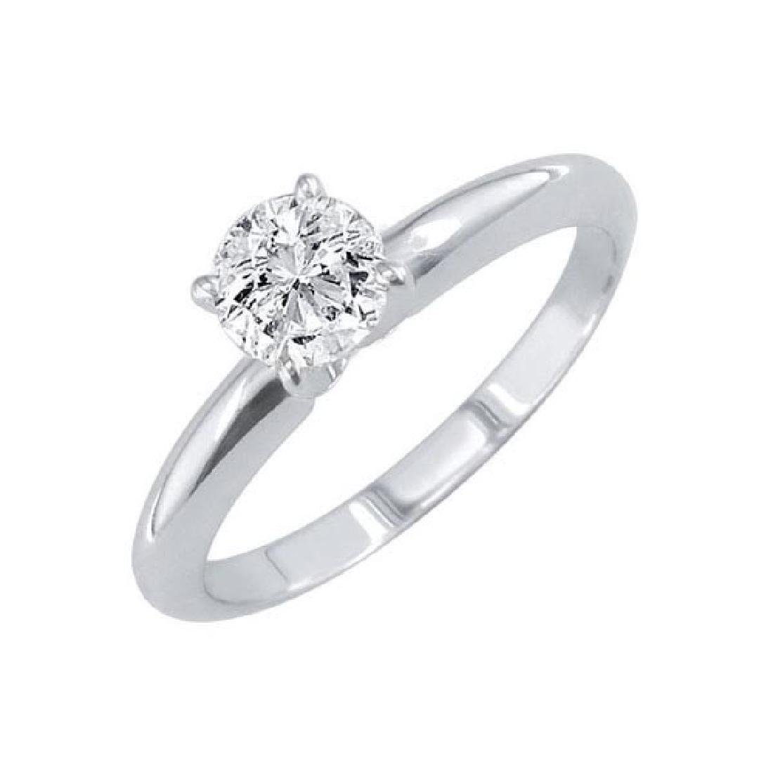 Certified 0.9 CTW Round Diamond Solitaire 14k Ring D/SI