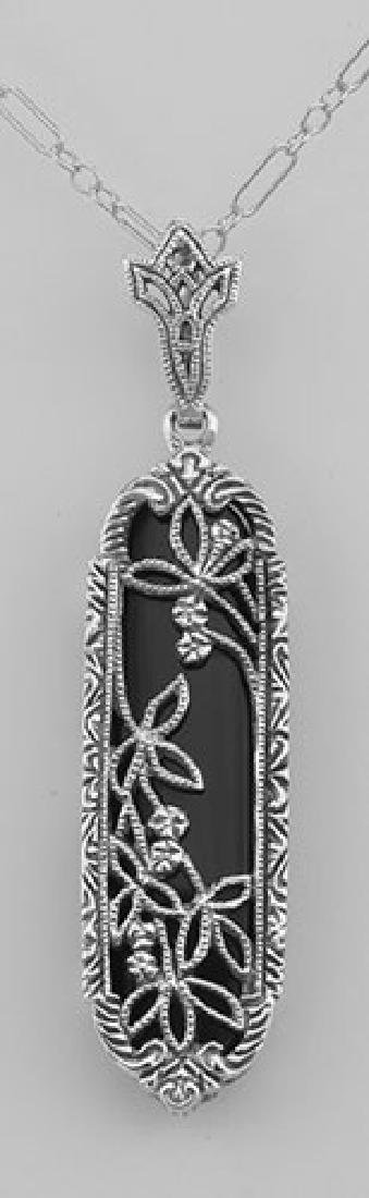 Art Deco Black Onyx Floral Filigree Pendant - Sterling