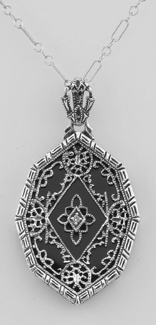 Victorian Style Black Onyx Filigree Diamond Pendant wit