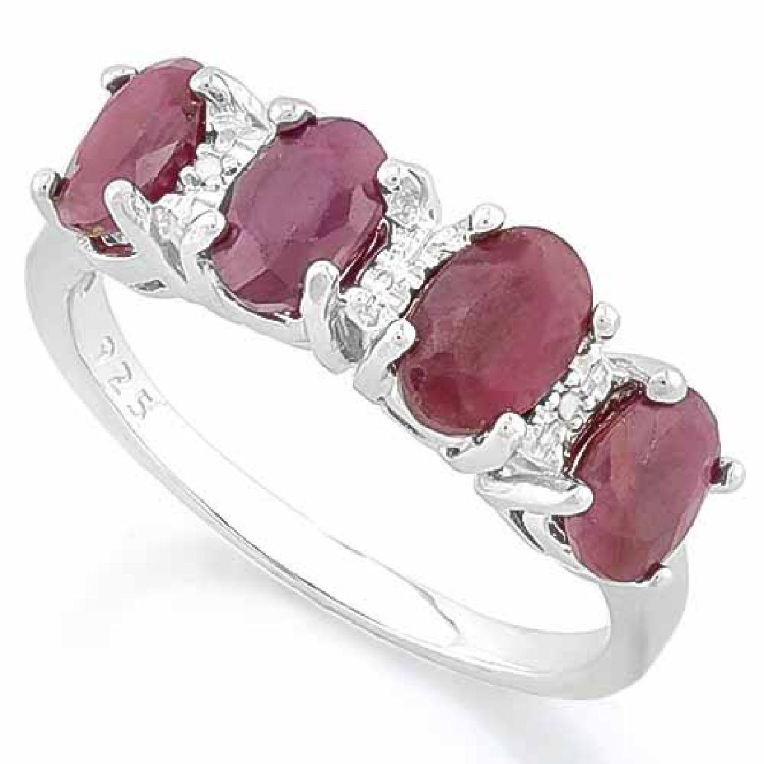 2 1/2 CARAT RUBY & DIAMOND 925 STERLING SILVER RING