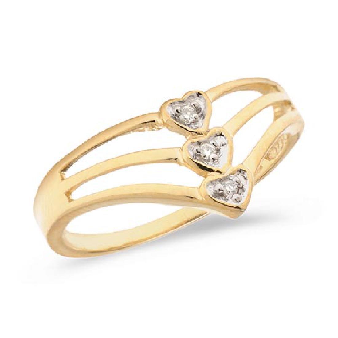 Certified 14K Yellow Gold Diamond Heart Ring 0.02 CTW