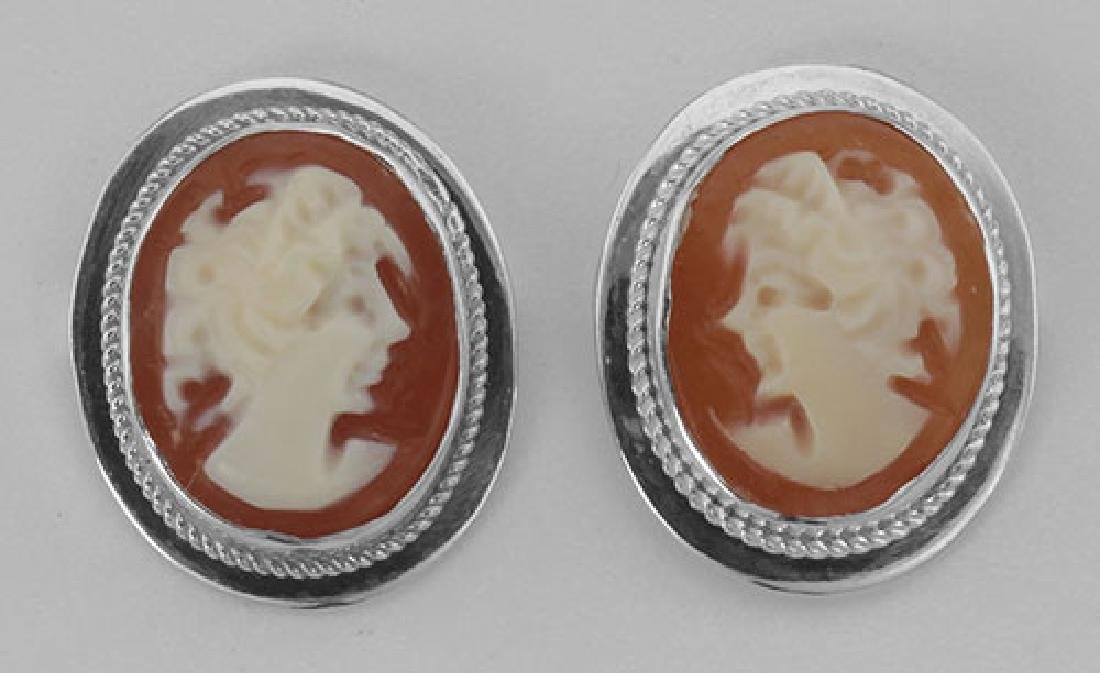 Hand Carved Italian Oval Cameo Post Earrings - Sterling