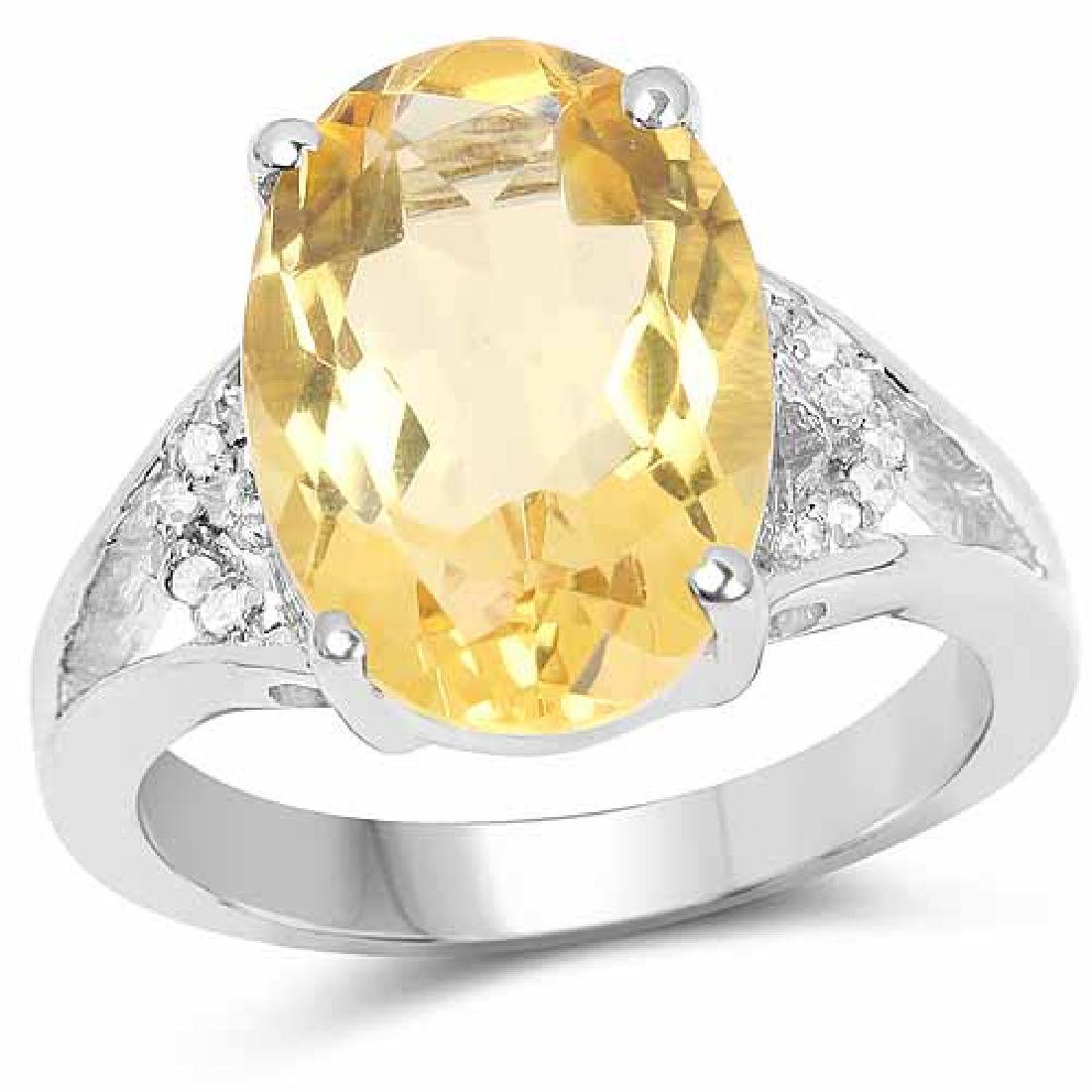 5.05 Carat Genuine Citrine and White Diamond .925 Sterl