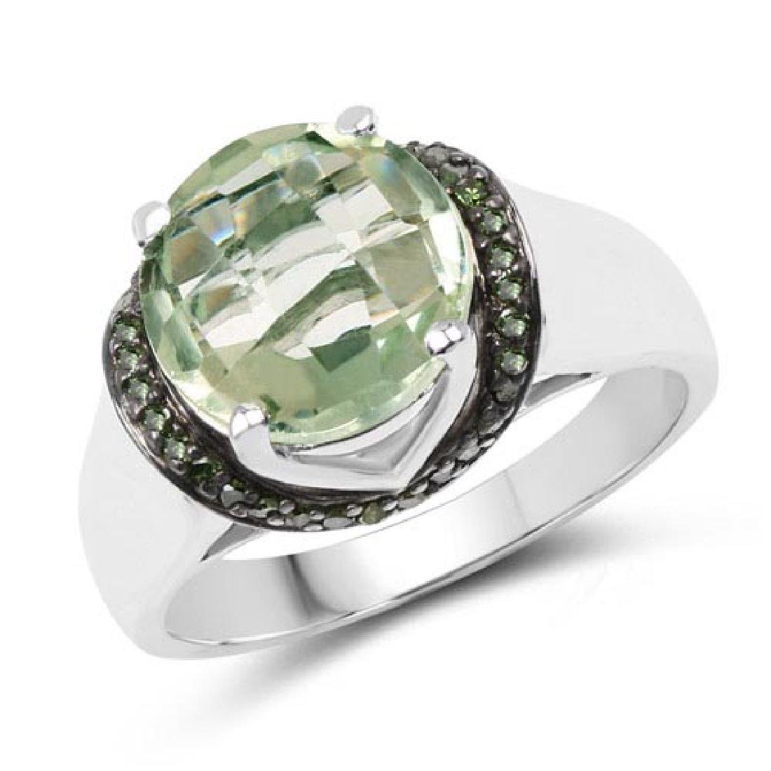 3.95 Carat Genuine Green Amethyst and Green Diamond .92