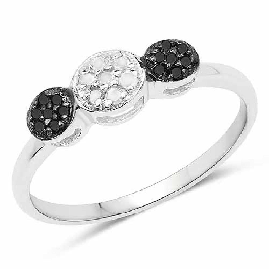 0.15 Carat Genuine White Diamond and Black Diamond .925