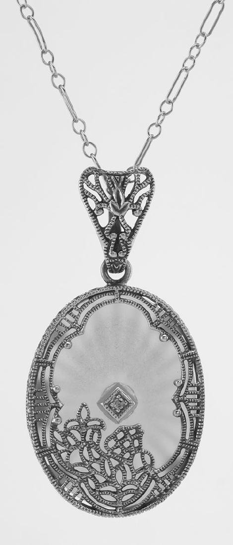 Sunray Crystal / Camphor Glass Diamond Pendant - Sterli