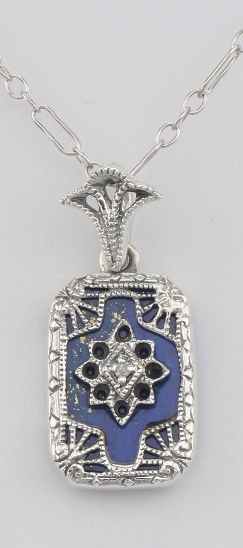 Beautiful Blue Lapis Filigree Pendant w/ Diamond - Ster