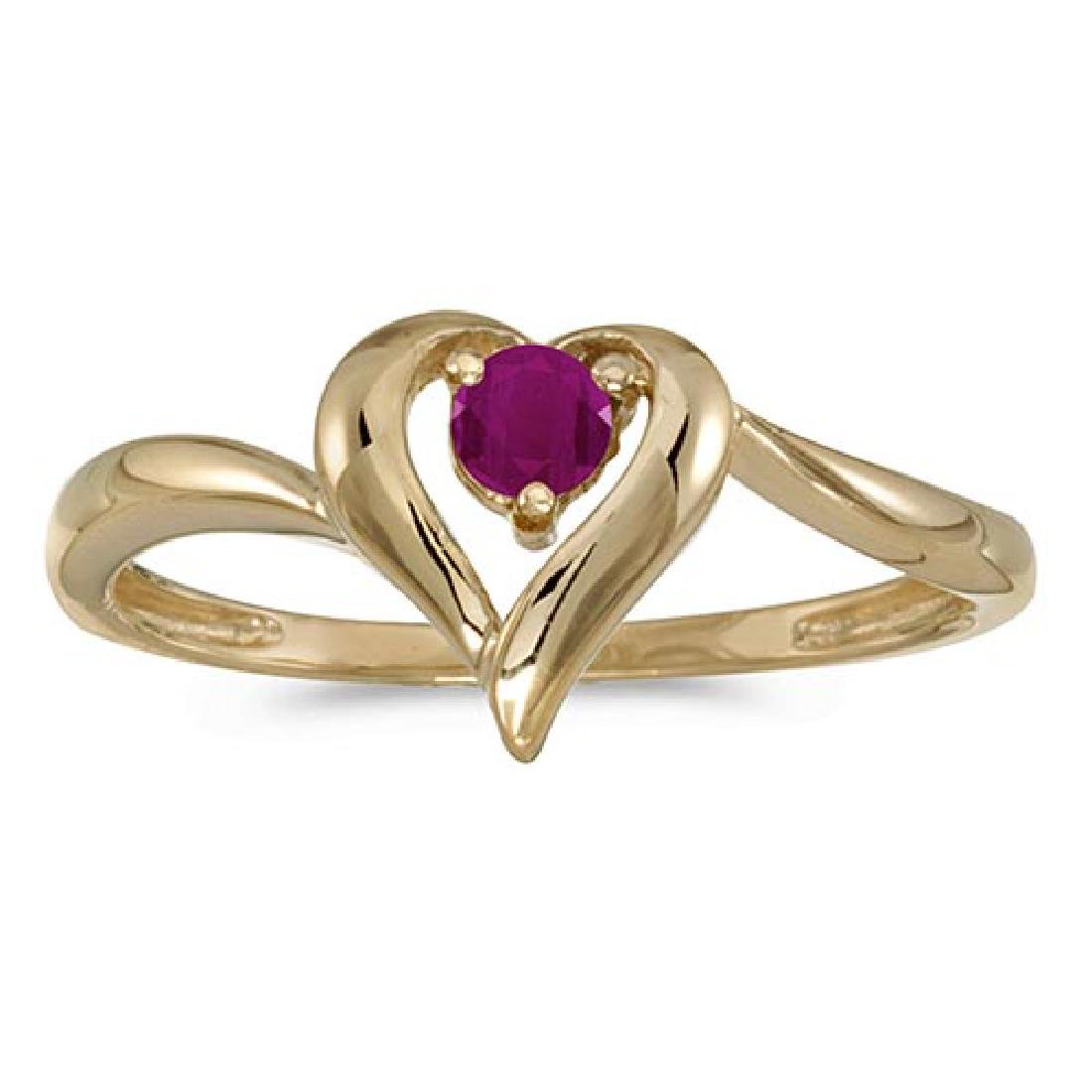Certified 10k Yellow Gold Round Ruby Heart Ring 0.12 CT