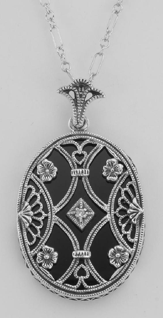 Black Onyx Filigree Diamond Pendant with Chain - Sterli