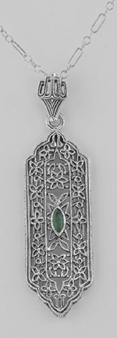 Art Deco Style Emerald Pendant - Sterling Silver with C