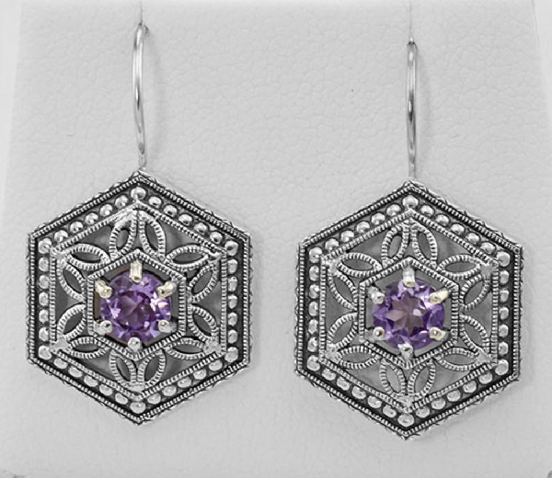 Amethyst Filigree Earrings - Sterling Silver