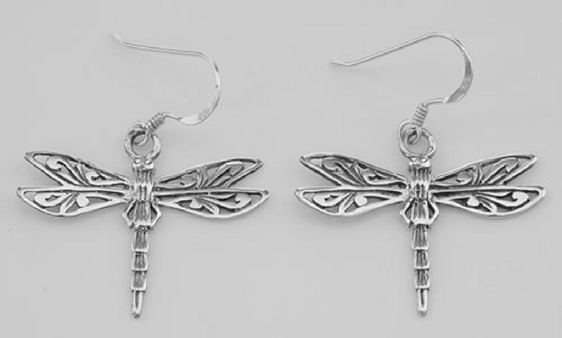 Cute Filigree Dragonfly Earrings - Sterling Silver