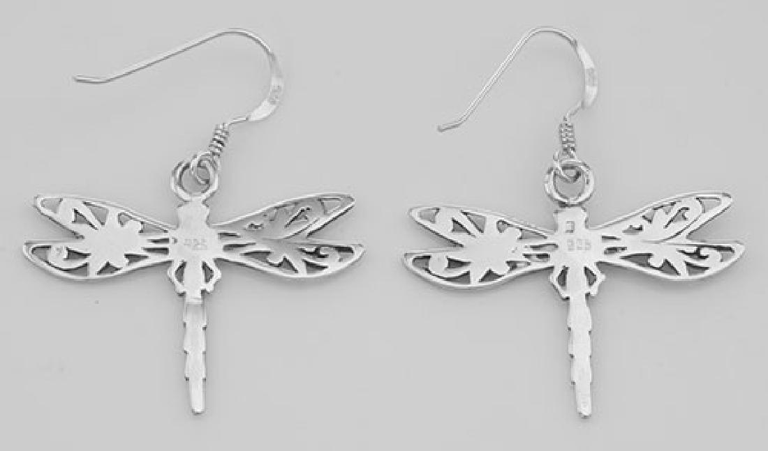 Cute Filigree Dragonfly Earrings - Sterling Silver - 2