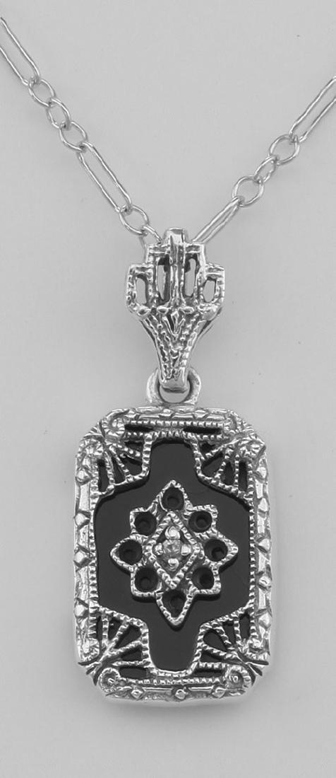 Genuine Black Onyx Filigree Pendant w/ Diamond - Sterli