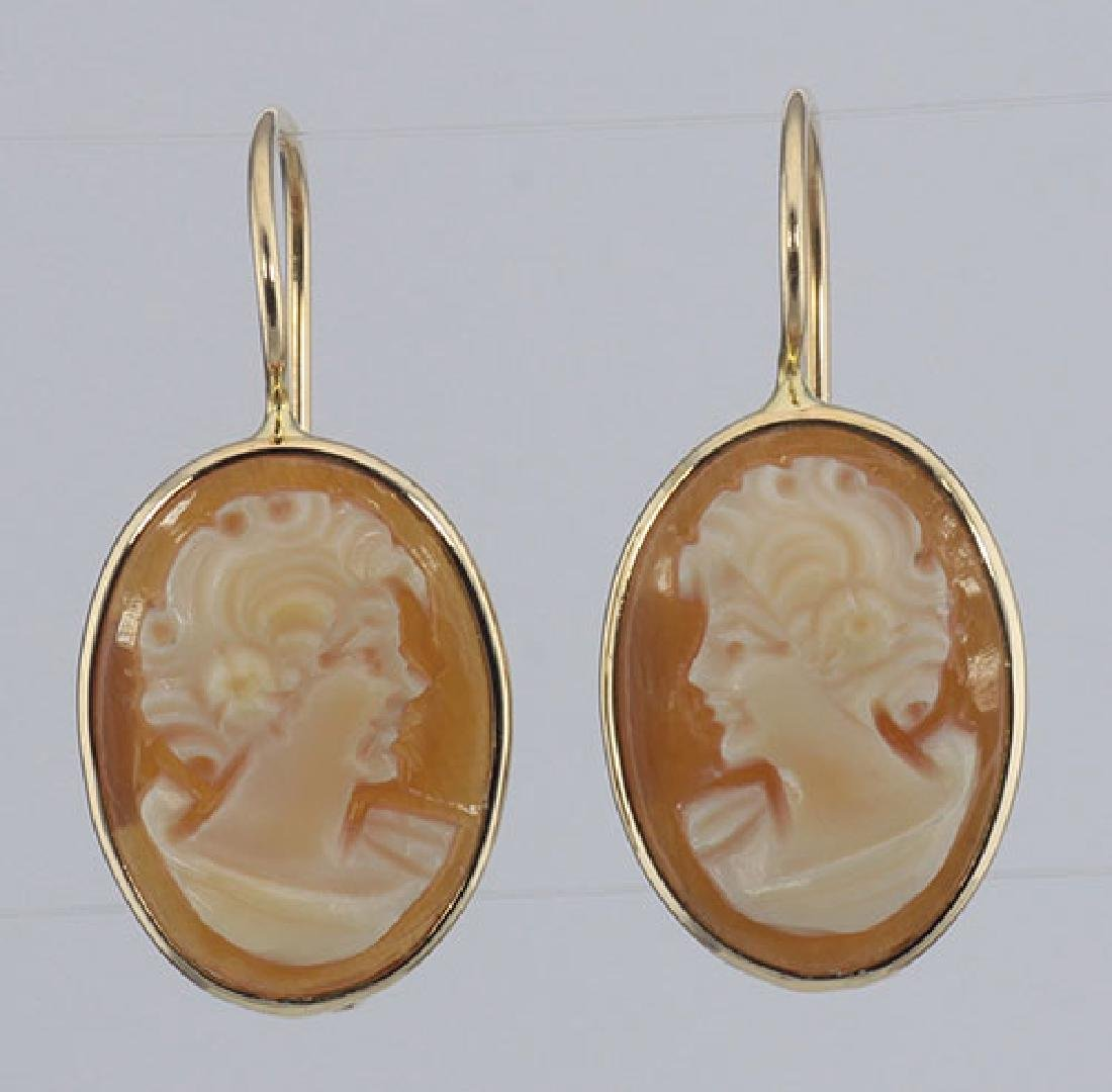 Classic Hand Carved Italian Oval Dangle Cameo Earrings