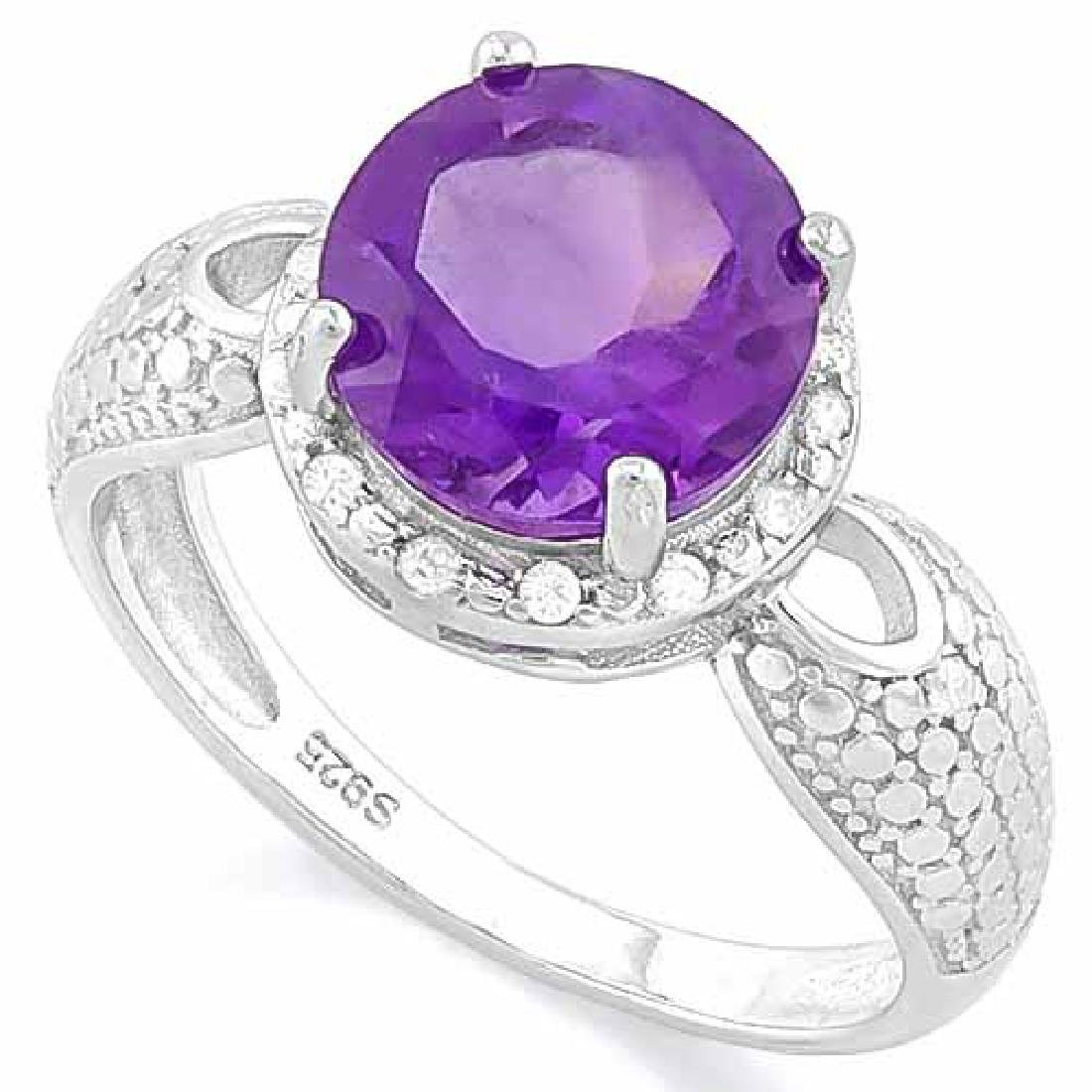 2 1/2 CARAT AMETHYST & DIAMOND 925 STERLING SILVER RING
