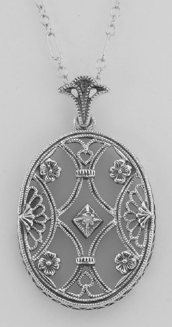 Art Deco Style Crystal Diamond Pendant with Chain - Ste