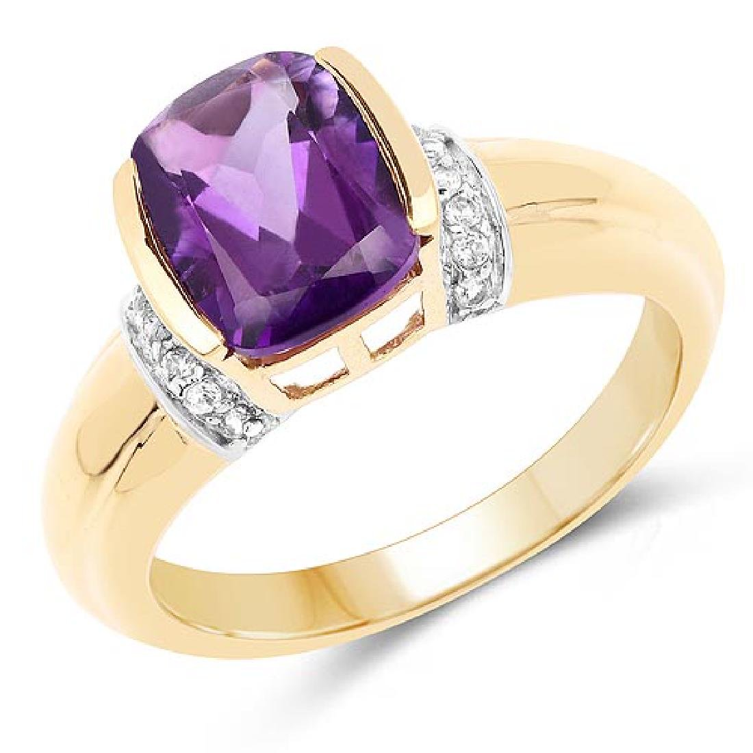 14K Yellow Gold Plated 1.52 Carat Genuine Amethyst and