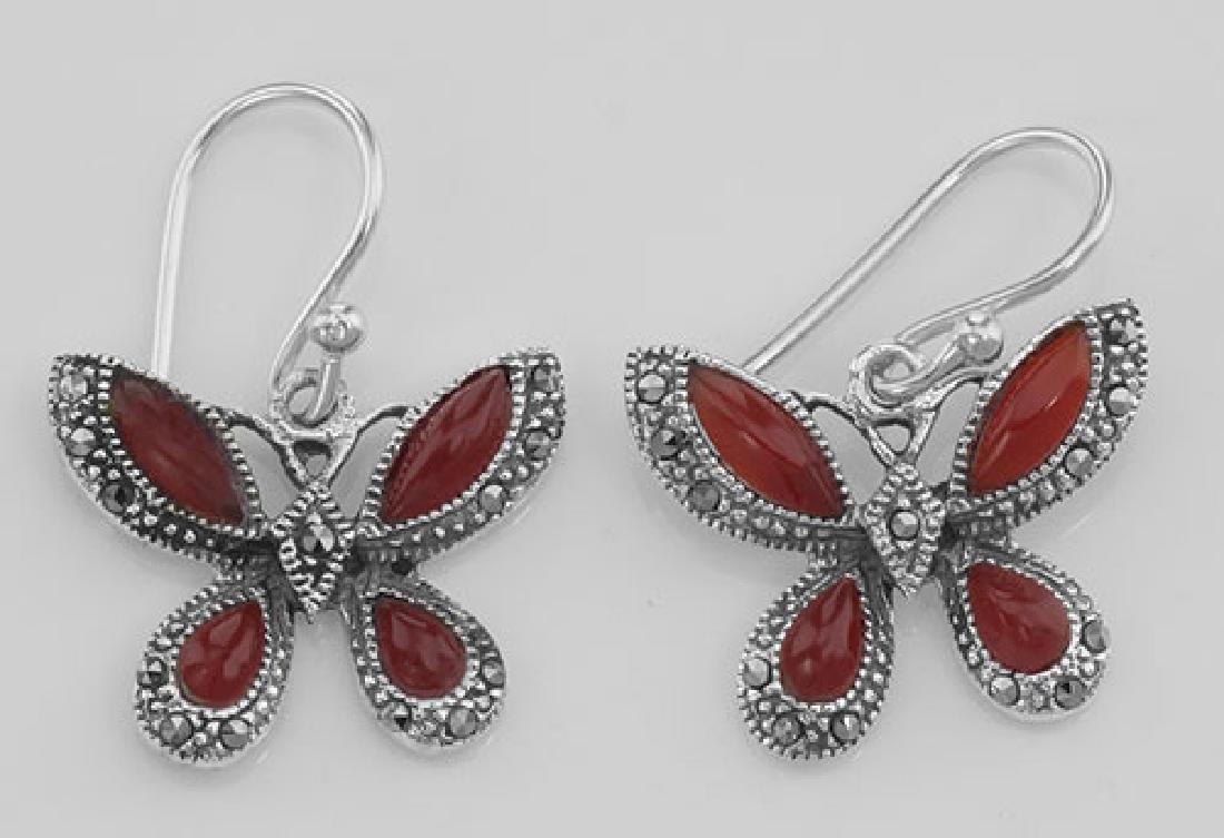 Red Carnelian Marcasite Butterfly Earrings Sterling Sil