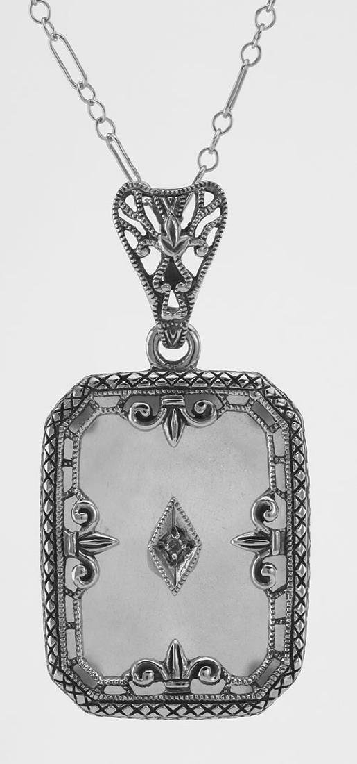 Fleur de Lis Design Crystal Filigree Pendant w Diamond
