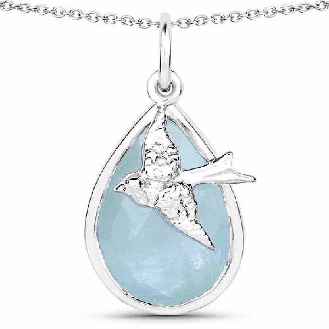 4.82 Carat Genuine Aquamarine .925 Sterling Silver Pend