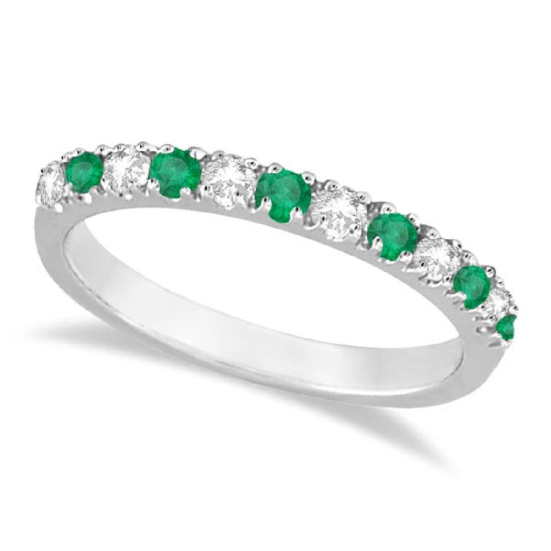 Diamond and Emerald Ring Guard Anniversary Band 14k Whi