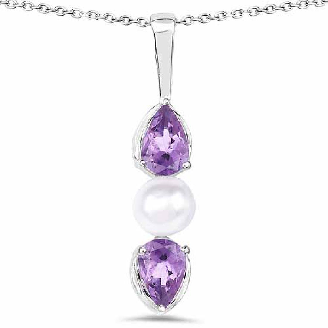 1.44 Carat Genuine Amethyst and Pearl .925 Sterling Sil