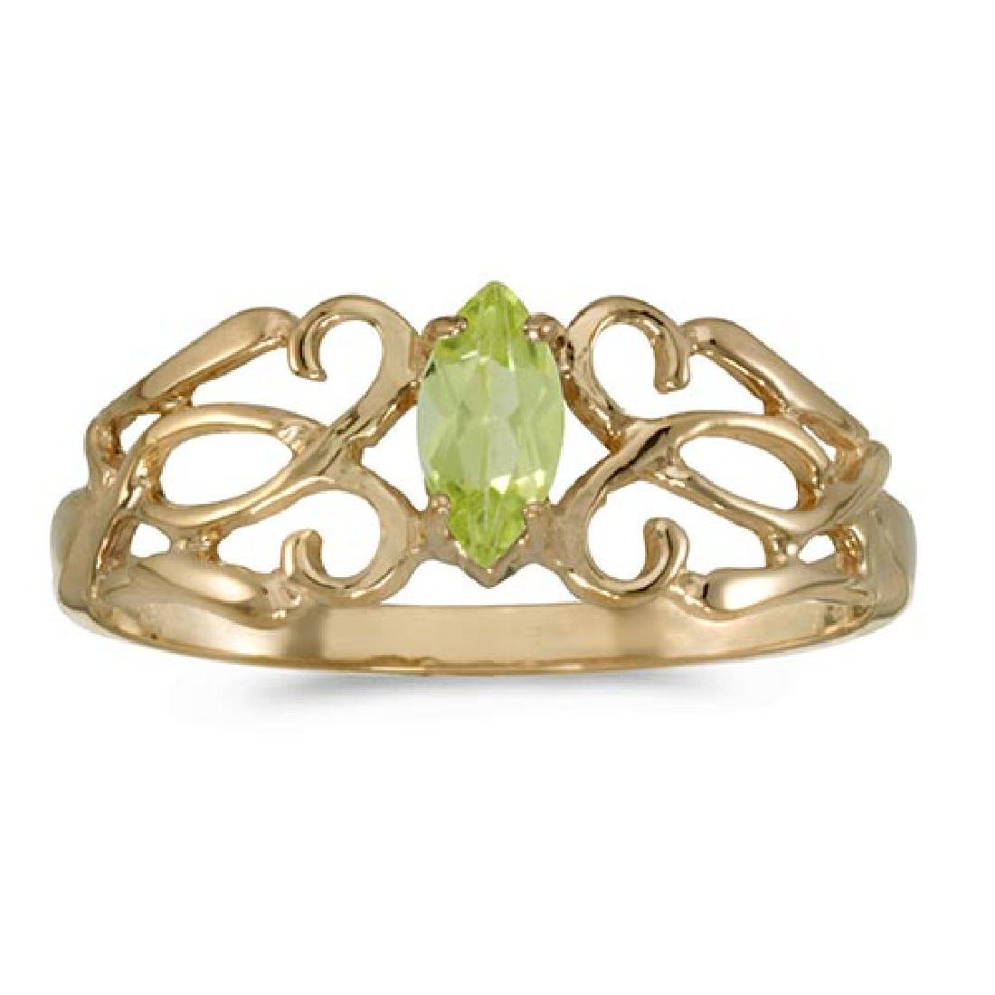 Certified 10k Yellow Gold Marquise Peridot Filagree Rin