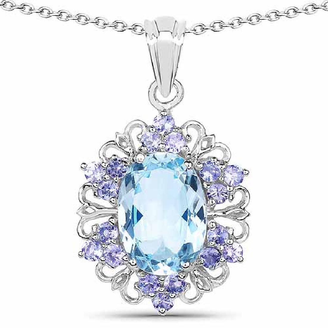 8.76 Carat Genuine Blue Topaz and Tanzanite .925 Sterli