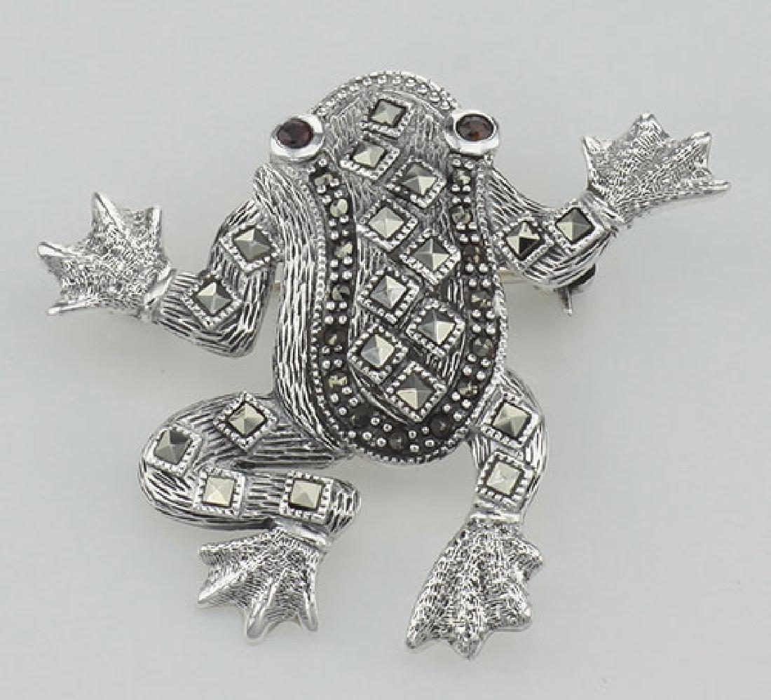 Marcasite / Garnet Frog Pin / Brooch - Sterling Silver