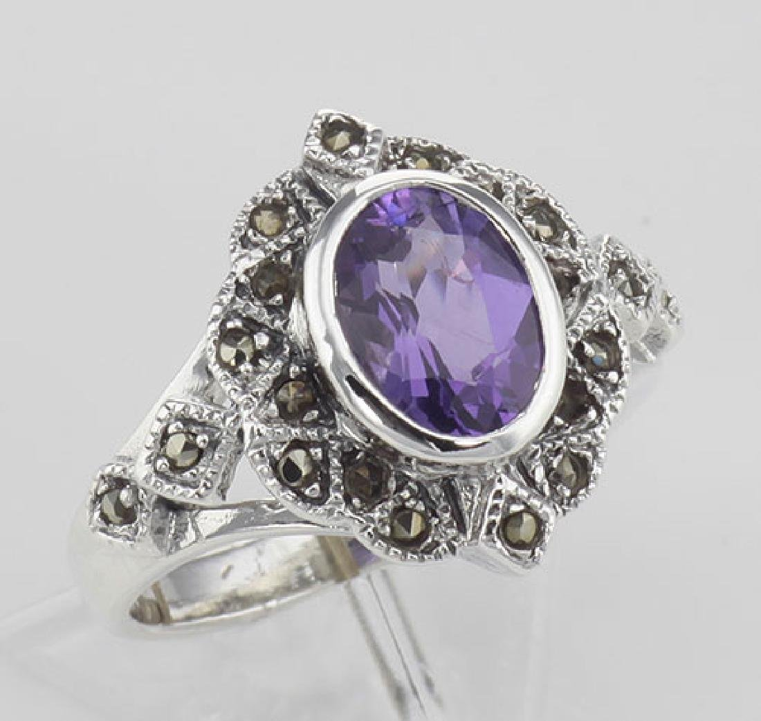Lovely 1 Carat Genuine Amethyst and Marcasite Ring - St
